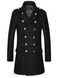 Turn-Down Collar Button Embellished Woolen Coat