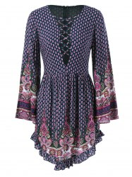Ethnic Lace-Up Tiny Floral Dress -