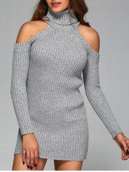 Turtleneck Cold Shoulder Sweater - GRAY S