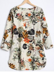 Buttoned Leaf Print Loose Blouse -
