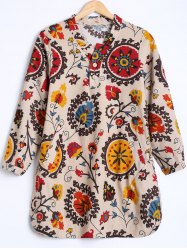 Tribal Print Buttoned Loose Blouse -