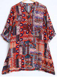 Tribal Print Buttoned Loose Chiffon Blouse -