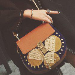 Chains Rivet Color Block Crossbody Bag
