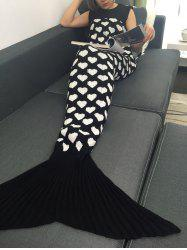 Peach Coeur tricoté Sofa Wrap Mermaid Tail Blanket - Blanc Et Noir