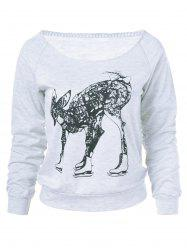 Fawn Print Long Sleeve Sweatshirt - LIGHT GRAY