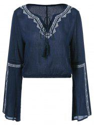 Embroidery Lace Up V Neck Blouse -