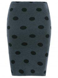 Polka Dot Knit Skirt - GRAY