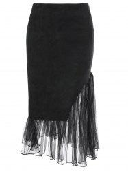 Tulle Insert Faux Suede Skirt - BLACK M