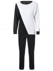 Long Sleeve Color Block Sweatshirt with Pants - WHITE AND BLACK