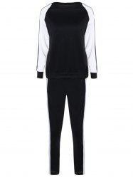 Long Sleeves Color Block Sweatshirt with Pants
