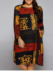 Plus Size African Long Sleeve Shift Dress