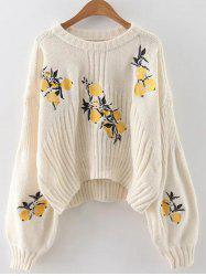 Lemon Embroidered Cropped Sweater -