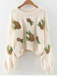 Lantern Sleeve Pineapple Embroidered Cropped Sweater -