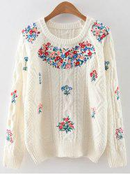 Vintage Floral Embroidered Cable Knit Sweater -