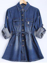 Plus Size Ripped Denim Short Shirt Dress -