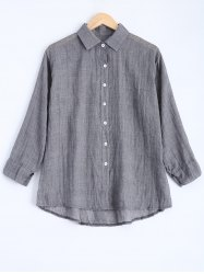 Button Down High Low Blouse -