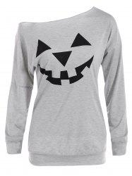 One Shoulder Pumpkin Print Halloween Sweatshirt - GRAY