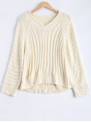 V Neck Raglan Sleeve Ribbed Pullover Sweater -