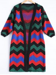 Zig Zag Long Sweater Cardigan -