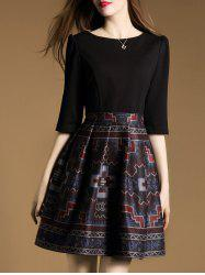 3/4 Sleeve Tribal Print Mini Flare Dress