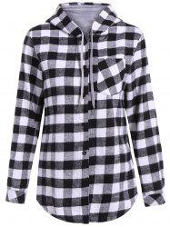 Casual Long Sleeve Hooded Plaid Check Shirt - GRAY