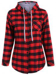 Long Sleeve Hooded Plaid Shirt - RED