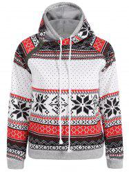 Double capuche Snowflake Imprimer Incliné Zipper Hoodie -