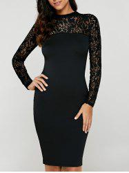 Lace Insert Long Sleeve Pencil Dress