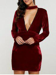Velvet Long Sleeve Choker Bodycon Dress
