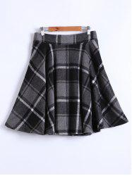 High Waist Plaid Flocking Skirt