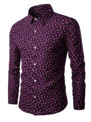 Long Sleeve Small Leaves Printed Shirt -