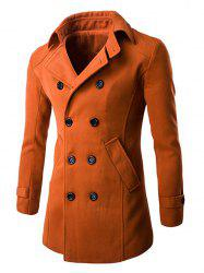 Slim Fit Double Breasted Wool Blend Coat - BRICK-RED 2XL