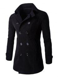 Slim Fit Double Breasted Wool Blend Coat - BLACK