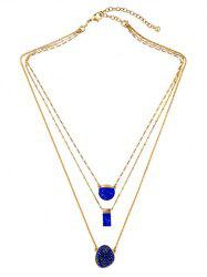 Layered Rectangle Faux Stone Necklace -