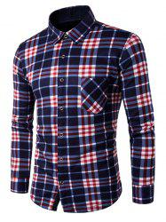 Long Sleeve Plaid Flannel Lined Shirt -