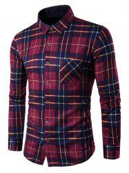 Button Down Flannel Lined Plaid Shirt - RED 4XL