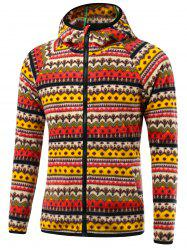 Tribal Imprimer Raglan à capuche Zip Up Jacket - Rouge 3XL