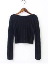 Ribbed Cropped Knitted Pullover -