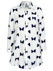 Bowknot Print Long Sleeve Shirt -