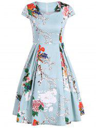 Vintage Sweetheart Neck Floral Print Dress