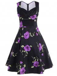 Ruched Sweetheart Neck Floral Print Dress -