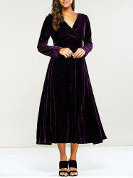 Surplice Velvet Long Evening Dress with Sleeves - PURPLE