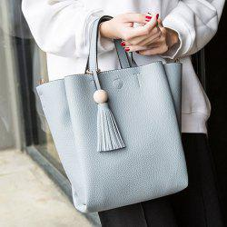 Tassel Winged Textured PU Leather Handbag -