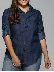 Plus Size Button-Down Dark Denim Shirt -