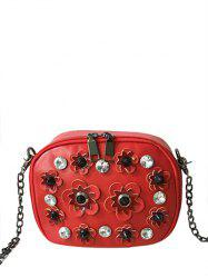 Rhinestones Flowers Rivets Crossbody Bag -