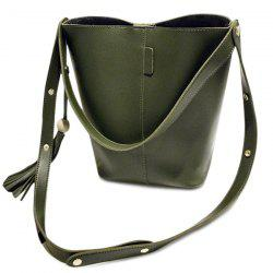 Bead Snap Closure Tassels Shoulder Bag - ARMY GREEN