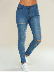 Conception Pocket Ripped Crayon Jeans - Bleu Clair