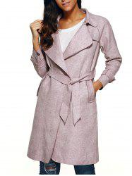 Belted Faux Suede Wrap Coat -