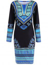 Skinny Long Sleeve Print Dress -