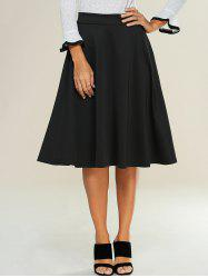 High Waist Zipped A Line Skirt